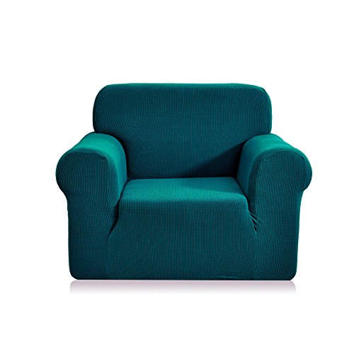 Arm Chair Polyester Cushion - CHUN YI 1-Piece Jacquard High Stretch Armchair Arm Chair Slipcover, Polyester and Spandex 1 Seater Cushion Couch Cover Coat Slipcover, Furniture Protector Cover for Sofa and Couch (Chair, Blue)