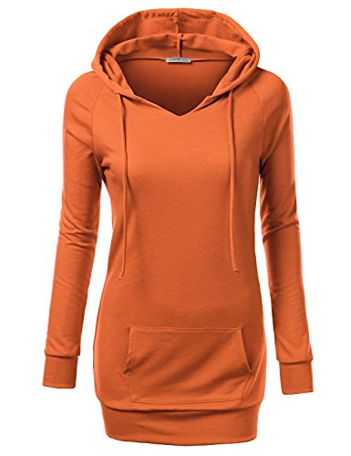 J.TOMSON Women's Pullover Hoodie ORANGE XL