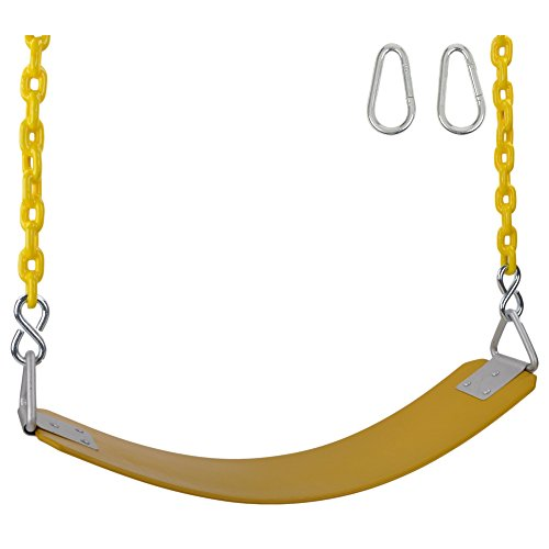 Swing Set Stuff Inc. Swing Set Stuff Commercial Rubber Belt Seat 8.5 Ft. Coated Chain and Sss Logo Sticker, Yellow -