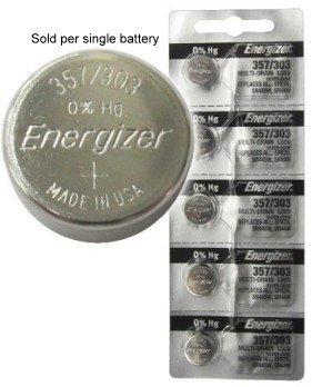 Energizer 357/303 (SR44W, SR44SW, EPX76) Silver Oxide Multi Drain Watch Battery. On Tear Strip (Pack of 5) - 303 Energizer Watch Batteries