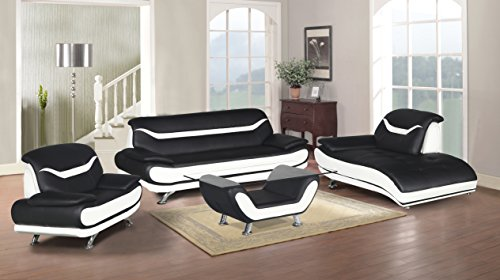 U.S. Livings Beatrice Modern Living Room Contemporary Sofa Set (4, Black and White)