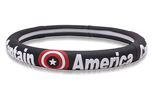 (Finex Silicone Captain America Superhero Auto Car Steering Wheel Cover - Black - Universal Fit)