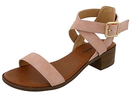 (TOP Moda Women's Vision-75 Ankle Strap Open Toe Heeled Sandal Light Blush 8)