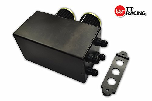 Honda Civic Acura Integra 10 AN 4 Ports Pro Series Aluminum Oil Catch Can w//Breather Filter Black HONDA/_OT/_BK