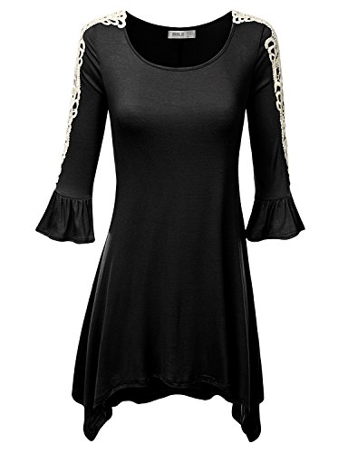 SJSP Bell Sleeve Soft Fabric Loose Fit Top Printed BLACK Tunic Top,Large,L