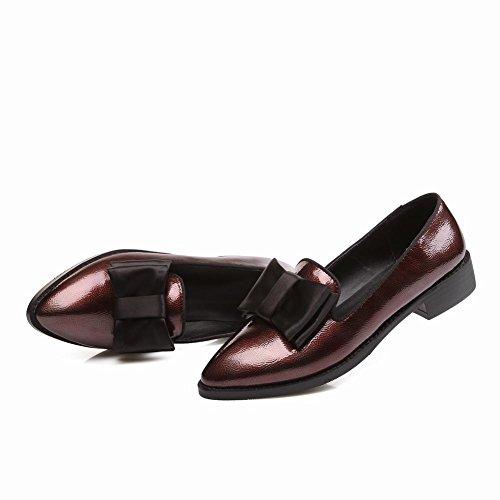 Latasa Kvinna Mode Båge Pekade Tå Chunky Klack Slip På Komfort Dagdrivare Skor Rödvin Röda
