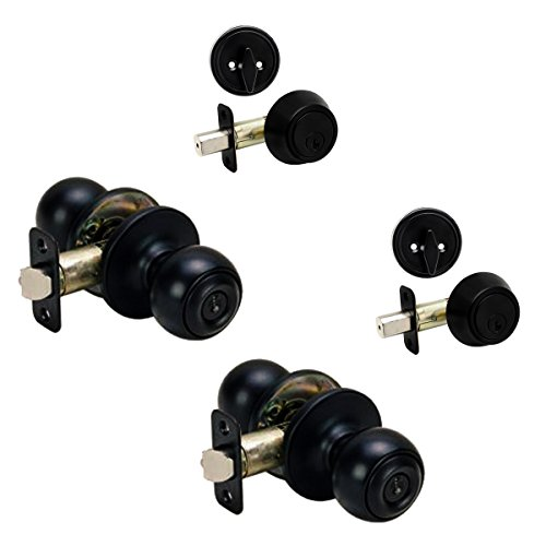 2 - Ashland Matte Black Entry Knob with Matching Single Cylinder Deadbolt Combo Packs Keyed Alike (We Key Lock Orders Alike for Free) ()