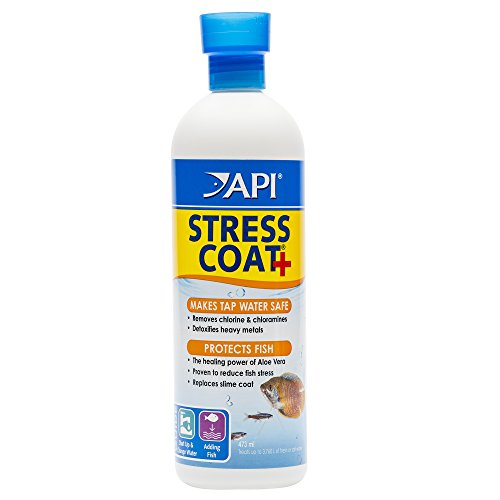 API STRESS COAT Aquarium Water Conditioner 16-Ounce Bottle (100 Zyme Caps)