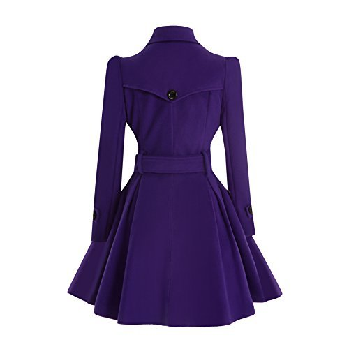 ForeMode Women Swing Double Breasted Wool Coat with Belt Buckle Spring Mid-Long Long Sleeve Lapel Dresses Outwear(Purple XL)