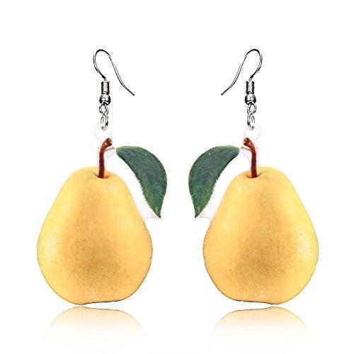 - Trendy Statement Creative Funny Lifelike Fruits Acrylic Earrings for Women/Girl's (Pear)