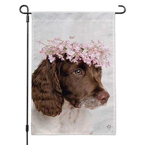 Graphics and More Springer Spaniel Dog Flower Blossom Tiara Garden Yard Flag with Pole Stand Holder