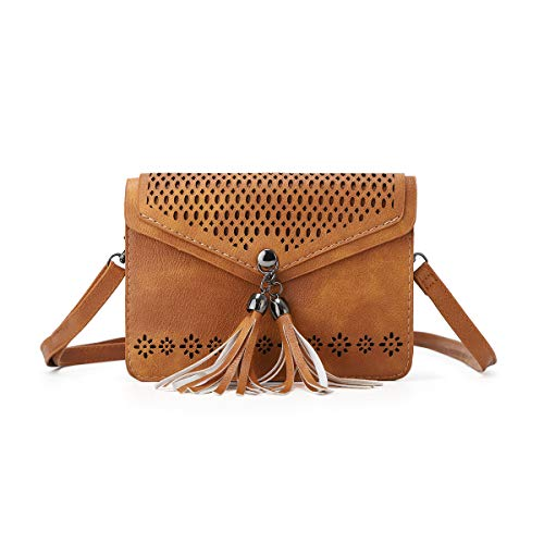Price comparison product image Women Small Crossbody Bag - Cell Phone Purse Smartphone Wallet Bags (225-brown with tassel)