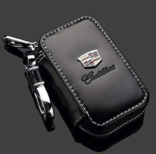 (Cadillac Black Premium Leather Car Key Chain Coin Holder Zipper Case Remote Wallet Bag )