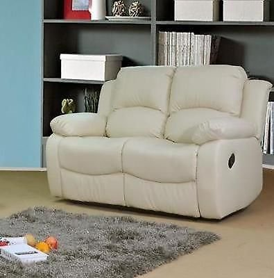 Valencia Cream Recliner Leather Sofa Suite 3 2 Seater 12 Months