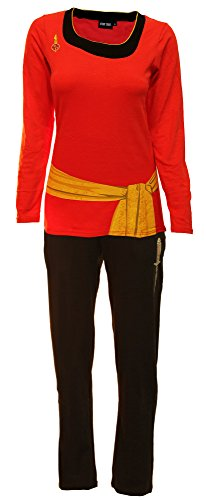 Star Trek Womens Costumes (Robe Factory Star Trek Red Uhura Ladies Long Sleeve Costume Pajama Set M)