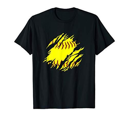 Girls Softball Stitches Fastpitch Gear T-Shirt Softballism