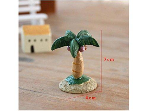 SHORT Decorazione in Resina in Miniatura Vintage Coconut Tree Mini Fairy Garden Flowerpot Miniature Craft Micro Paesaggio Ornament Decor (Verde Scuro)