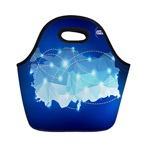 Semtomn Lunch Bags Blue Network Turkey Country Map Polygonal Spot Places Neoprene Lunch Bag Lunchbox Tote Bag Portable Picnic Bag Cooler Bag