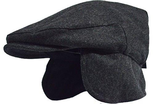 Deewang Fashion Men's Herringbone Tweed Solid Newsboy Driving Cabbie, Ivy Flat Cap (L/XL, EarFlap-Charcoal)