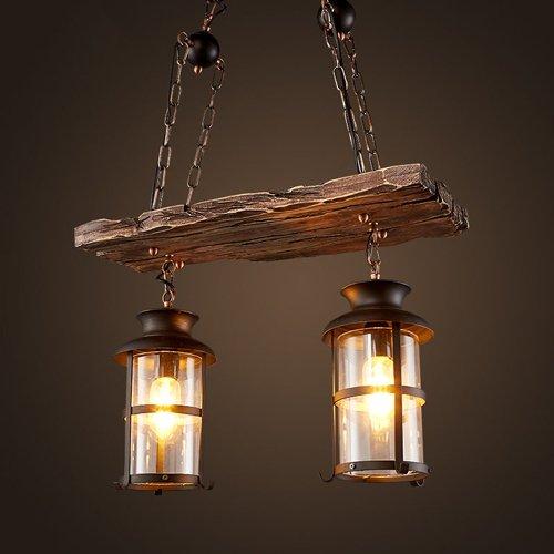 Hines Hierro forjado woody industrial 3 luces colgantes Lámpara de araña de madera Lámpara colgante Luces de celosía...