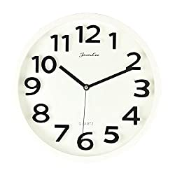 JeanLee Large Wall Clocks, Silent Non-Ticking 3D Numbers Contemporary Modern Design Home Office Decor Quiet Movement 13 Wall Clock (White)