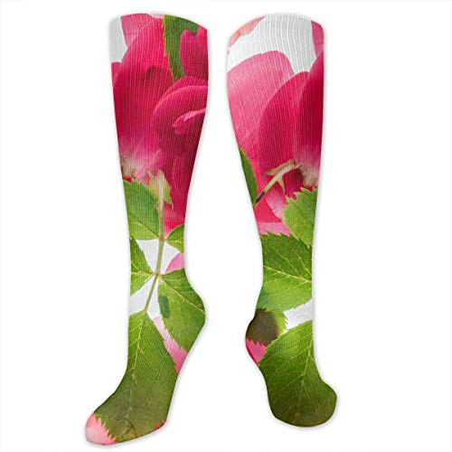 (Pink Roses and Foliage Polyester Cotton Over Knee Leg High Socks Printed Unisex Thigh Stockings Cosplay Boot Long Tube Socks for Sports Gym Yoga Hiking Cycling Running Football)