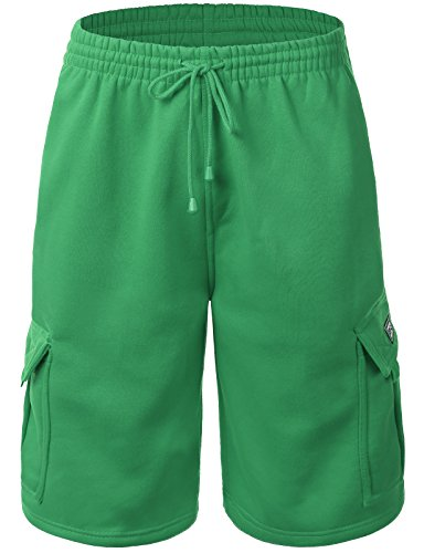 IDARBI Mens Fleece Loose Fit Cargo Short Pants Solid Colors (S-5XL Avail)