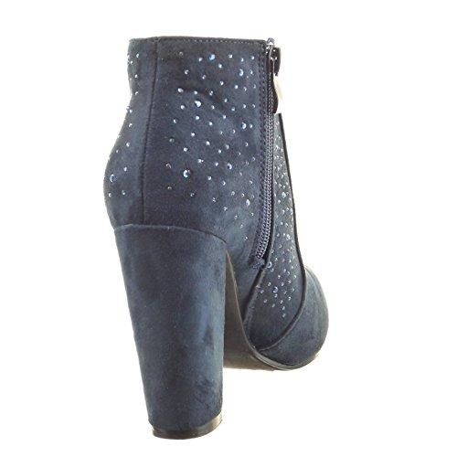 Sopily - Zapatillas de Moda Botines low boots Tobillo mujer strass Talón Tacón ancho alto 10 CM - Azul