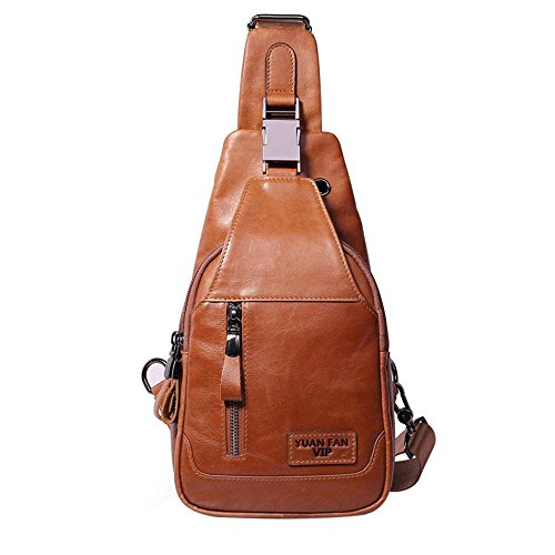 Bag Gymtravel Brown Men's Hiking Bags Sling For Leather School brown Crossbody Shoulder Light Chest Pawaca Genuine Casual wESPwa