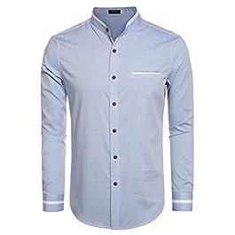 COOFANDY Men's Casual Long Sleeve Stand Collar Button Down Shirt