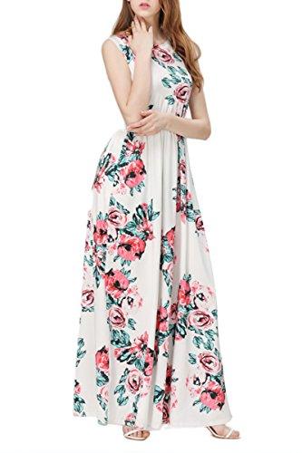 YMING Mujer Beachwear vestido floral de verano Boho vestido maxi vestido casual más el tamaño Negro, sin mangas vestido maxi