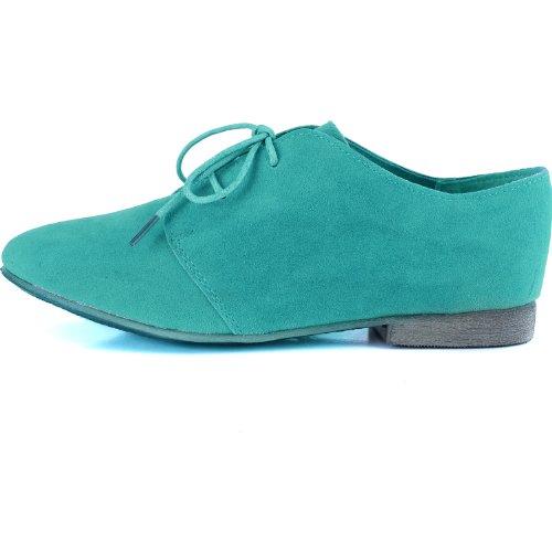 Femmes Classiques Lacets Ballerines Plates Oxford Sneaker Chaussures Menthe