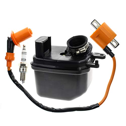 Carbhub PW50 Ignition Coil + Air Filter Cleaner Box Housing Assembly for 1981-2010 Yamaha PW50 Y-Zinger Dirt Bike with Spark Plug