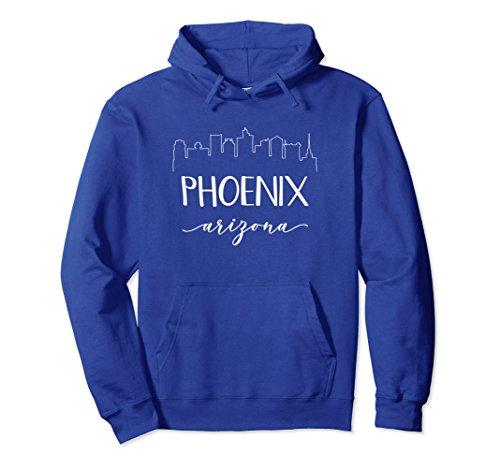 Unisex Phoenix Arizona Hoodie - Calligraphy City Skyline Shirt 2XL Royal Blue