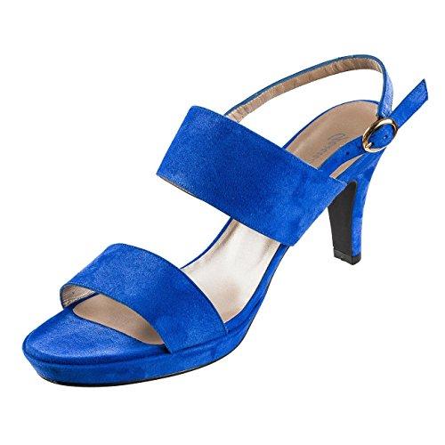 mujer 40 para azul vestir Sandalias Ex Piel de Azul de Azul Factory CwHpHqxv0