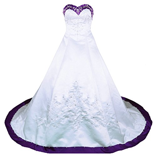 RohmBridal Sweetheart A-line Wedding Dress Bridal Gown Size 28 White Purple (Size 28 White Wedding Dress)