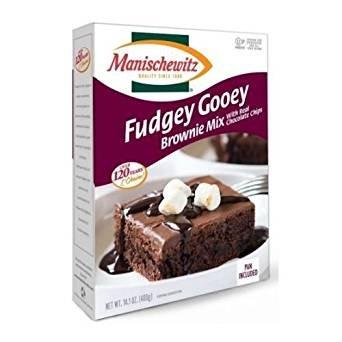 - Manischewitz Fudgey Gooey Brownie Mix With Real Chocolate Chips Kosher For Passover 14 oz. Pack of 3.