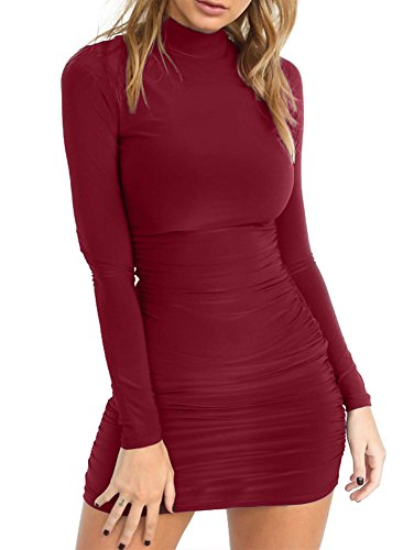 TOB Women's Sexy Stand Neck Long Sleeve Ruched Bodycon Mini Club Dress Wine Red