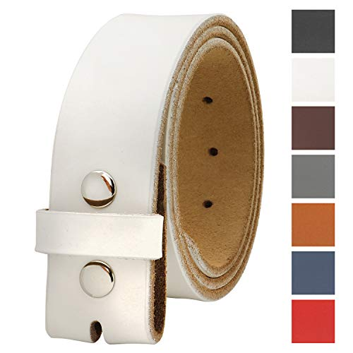 Belt Genuine White (Falari Replacement Genuine Leather Belt Strap Without Buckle Snap on Strap 1.5