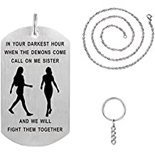 Big Sister Gift from Sister Dog Tag Necklace Keychain Idea for Women Girls Personalized