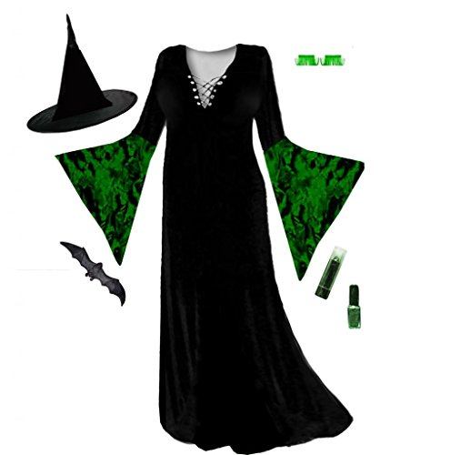 Sanctuarie Designs Women's Black With Green Crush Velvet Witch /ECONOMY/ Plus Size Supersize Halloween Kit/0x/./ ()