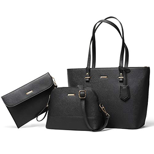 Handbags for Women Tote Bag Shoulder Bag Top Handle Satchel Purse Set 3pcs (Black)