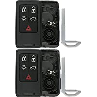 KeylessOption Keyless Entry Remote Smart Key Fob Case Shell Button Pad Outer Cover For KR55WK49264 (Pack of 2)