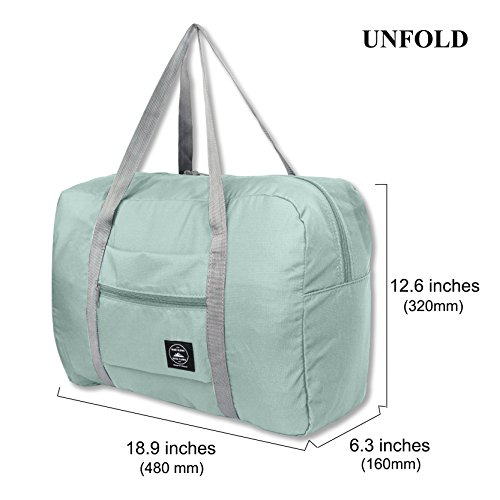 25L Travel Foldable Duffel Bag for Women & Men, Waterproof Lightweight travel Luggage bag for Sports, Gym, Vacation(II-Mint Green) by FUNFEL (Image #2)