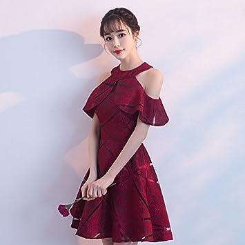 JKJHAH Vestidos De Fiesta Mujer Vestidos Rojos Vestidos Nupciales, Vino Tinto, S