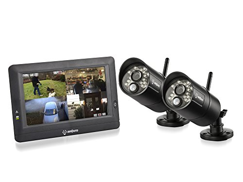 SEQURO GuardPro DIY Surveillance System with 7'' Wireless Touchscreen Monitor and 2 Outdoor/Indoor IP66 Weatherproof HD Security Cameras by Sequro