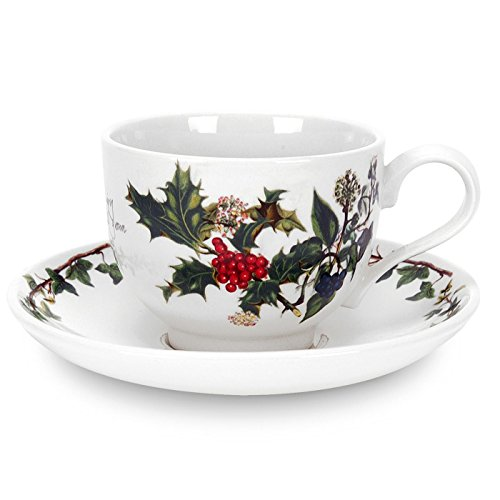 Portmeirion Holly and Ivy Teacup and Saucer Set of 6 ()