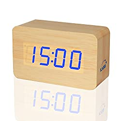 KABB Light Brown Wood Grain LED Light Alarm Clock - Shows Time and Temperature - Good Sound Control - Latest Generation (USB/4xAAA) - Excellent Size - Made of Natural Material