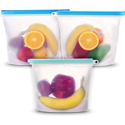 Reusable Silicone Food Storage Bags Set of 3 by MMSK Fresh Clear Bag Airtight Leakproof Zip Seal - Sandwich Snack Freezer Lunch Sous Vide Kitchen Use - Dishwasher Safe Eco-Friendly Multi-purpose