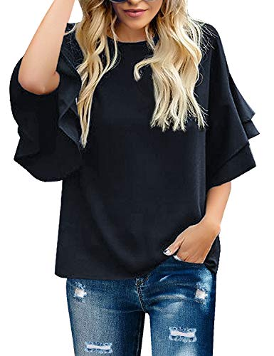 GRAPENT Women's Navy Casual Crewneck Tiered 3/4 Bell Sleeves Blouse Loose Tops Shirt Size Small Fits US 8-10